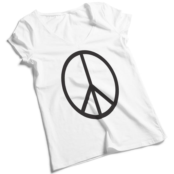 Women's V-Neck Peace Sign Tee Shirt - ALL BROTHERS ALL STARS -  - T-shirts - 1