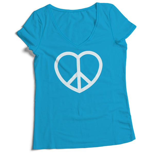 Women's V-Neck Peace and Love Sign Tee Shirt - ALL BROTHERS ALL STARS -  - T-shirts - 1