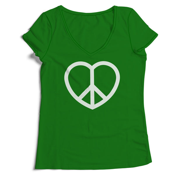 Women's V-Neck Peace and Love Sign T-Shirt - ALL BROTHERS ALL STARS -  - T-shirts - 1