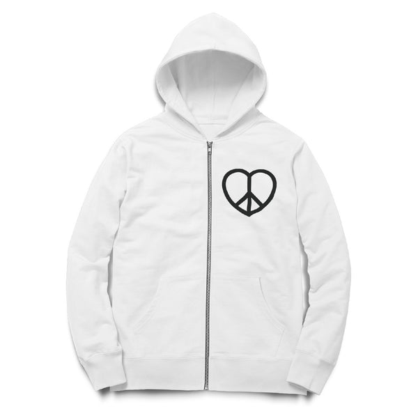 Women's Peace and Love Sign Zip Hoodie - ALL BROTHERS ALL STARS -  - Sweatshirts - 1
