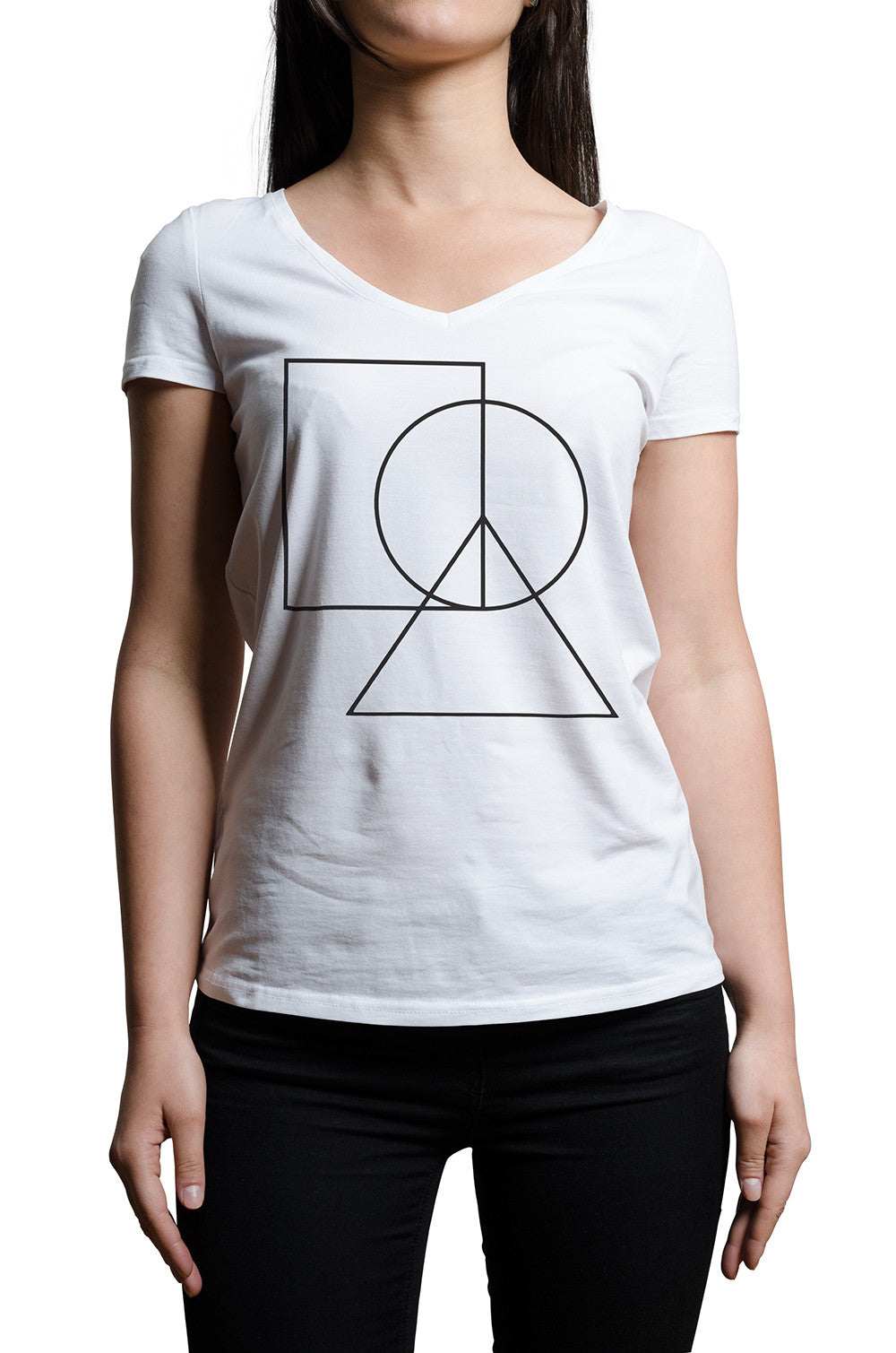 Women's V-Neck Peace Sign Tee - ALL BROTHERS ALL STARS -  - T-shirts - 3