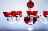 Murano Glass Chandelier Globo Red and White