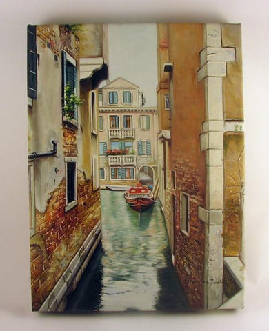 Oil on Canvas Venetian Back Alley Canal Image