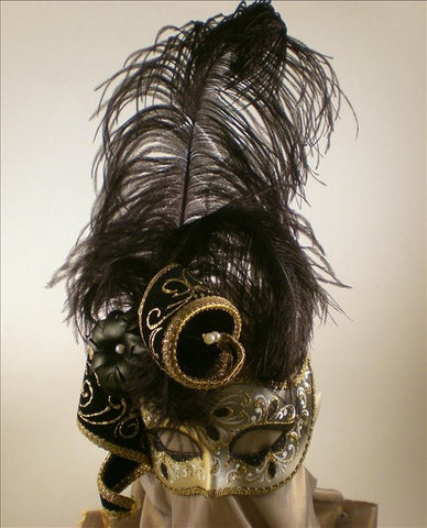 Feathered Venetian Masquerade Mask Black Gold Image