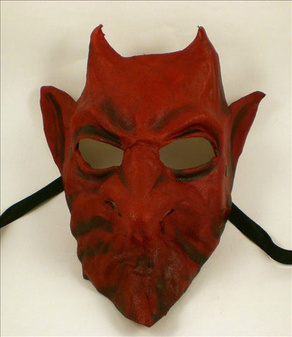 Leather Devil Demon Mask Red Image