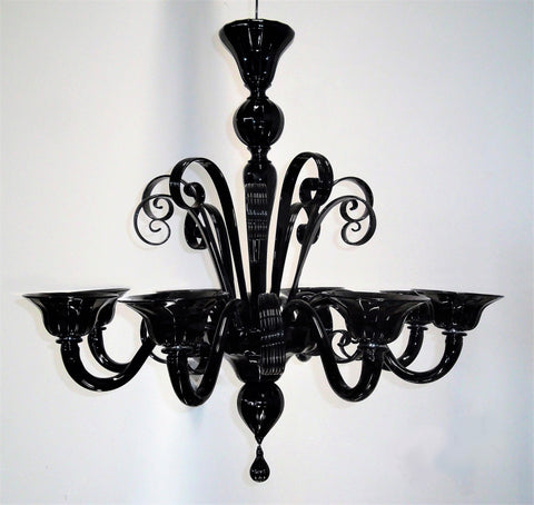 Murano Glass Chandelier Black 8 Light Image