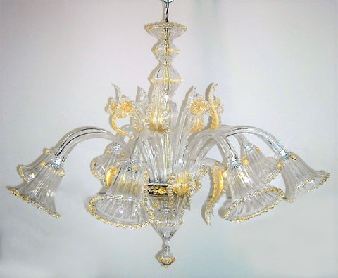 Murano Glass Chandelier 5035 Crystal w/ 24Kt Gold Accents Image