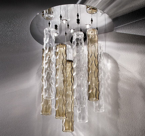 Italian Glass Tubes Ceiling Light Bamboo Image