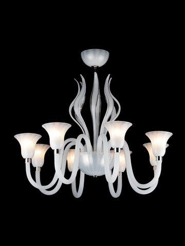 Murano Glass Chandelier Decorative Leaf Bianco Latte White Image
