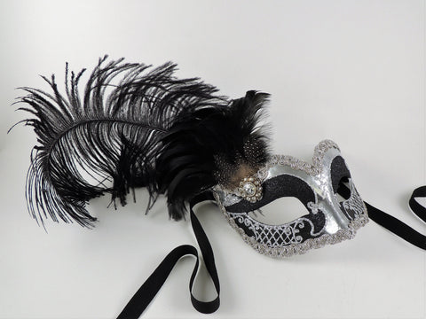 Venetian Feathered Masquerade Mask Black