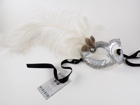 Venetian Feathered Masquerade Mask White