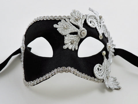 Colombina Satin Black and Silver Image