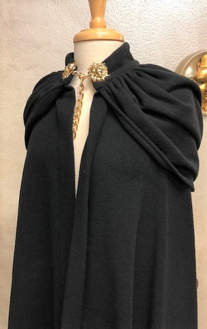 Venetian Wool Hooded Cloak Black Image