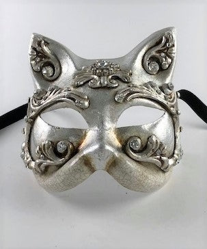 Venetian Silver Baroque Cat Mask Image