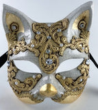 Venetian Gold Macrame Cat Mask Image