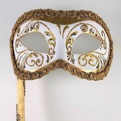 Colombine Holding Stick Mask – White and Gold Image