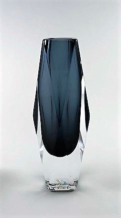 Murano Glass Vase Vasetto Sommerso Dark Gray Image