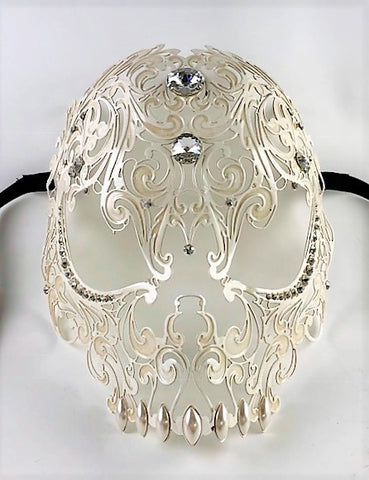 Venetian Mask Laser Cut Metal Antique White Skull Image