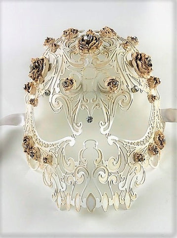 Venetian Mask Laser Cut Metal Antique White Skull and Roses Image