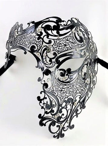 Venetian Mask Laser Cut Metal Phantom of the Opera Black Image