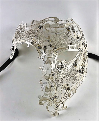 Venetian Mask Laser Cut Metal Phantom of the Opera White Image
