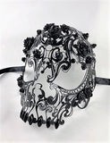 Venetian Mask Laser Cut Metal Black Skull and Roses Image