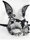 Venetian Mask Laser Cut Metal Rabbit and Roses Black Image