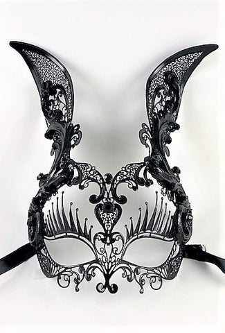 Venetian Mask Laser Cut Metal  Baroque Rabbit Black Image