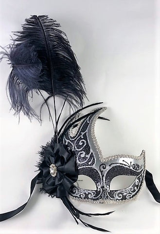 Feathered Cigno Masquerade Mask Black and Silver Image