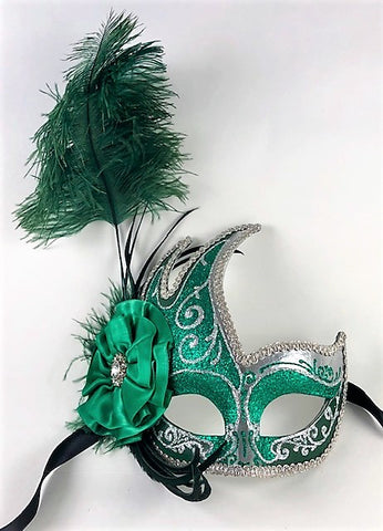 Feathered Cigno Masquerade Mask Green and Silver Image