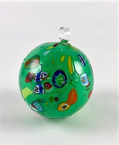 Italian Handblown Glass Christmas Ornament Green Image