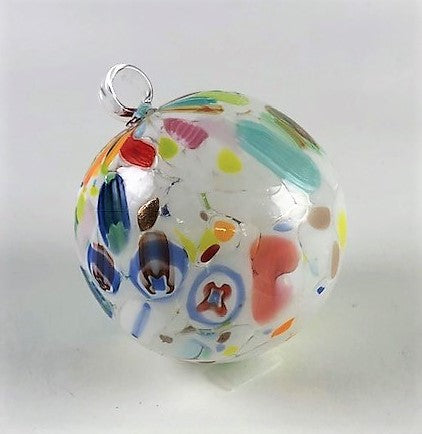 Italian Handblown Glass Christmas Ornament White Image