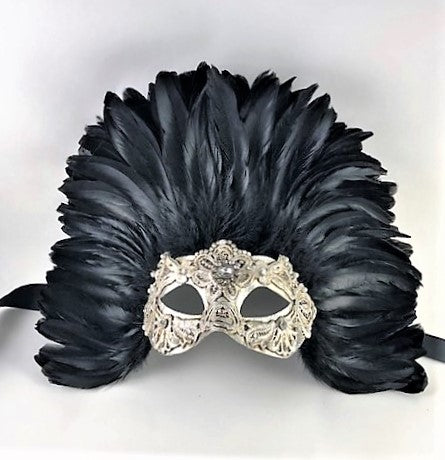 Feathered Colombine Reale Macrame Silver and Black Image