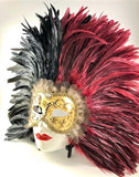Feathered Volto Carnevale Mask Black & Bordeaux Eyes Wide Shut Masquerade Image