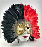 Feathered Volto Carnevale Mask Black & Red Image