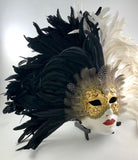 Feathered Volto Carnevale Mask Black & White Eyes Wide Shut Masquerade Image