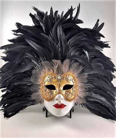 Feathered Volto Carnevale Mask Black Eyes Wide Shut Masquerade Image