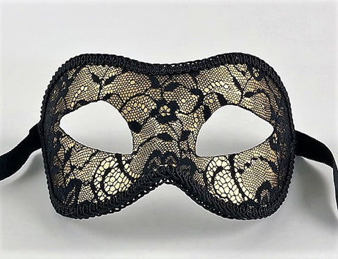 Colombine Masquerade Luxe Lace Black and Gold Image