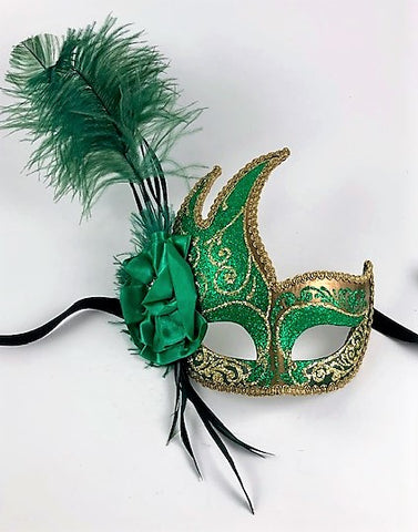 Feathered Cigno Masquerade Mask Green and Gold Image