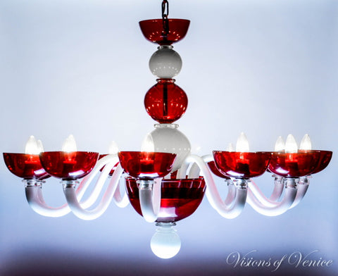 Murano Glass Chandelier Globo Red and White Visions of Venice