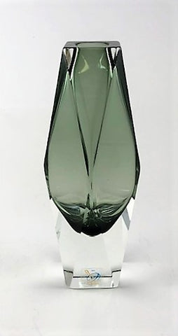 Murano Glass Vase Vasetto Sommerso Smoke Gray S Image