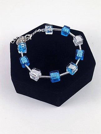 Murano Glass Bracelet – Alexandra Blue and Silver