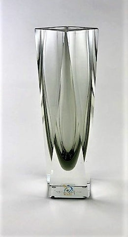 Murano Glass Vase Vasetto Sommerso Light Fume Smoke Gray S Image