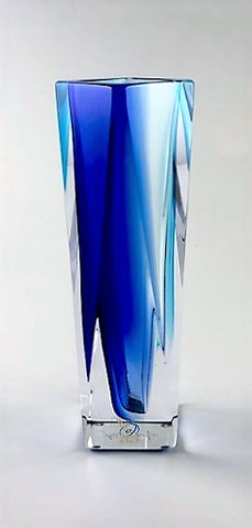 Murano Glass Vase Vasetto Sommerso Gradient Sky Blue and Cobalt Blue S Image