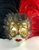 Feathered Volto Carnevale Mask Black & Red Eyes Wide Shut Masquerade Image
