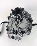Venetian Mask Laser Cut Metal Black Skull and Roses and Butterflies Image