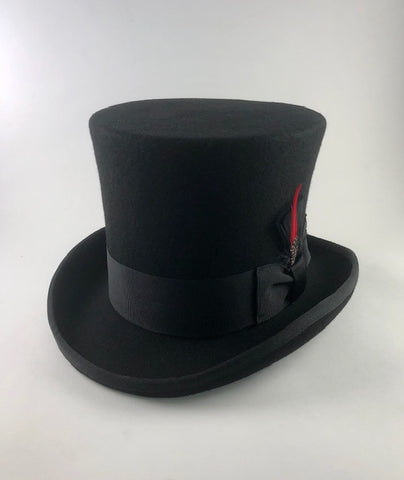Victorian Top Hat Black Wool Felt Image