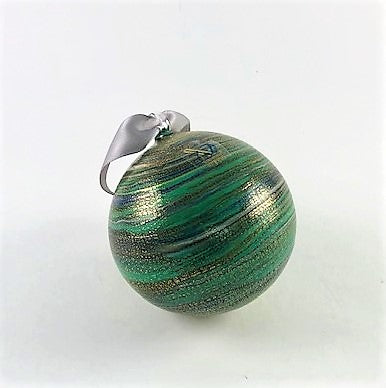 Murano Glass Christmas Ornament Green Verde Swirl Image