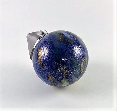 Murano Glass Christmas Ornament Cobalt Blue Macchie Image