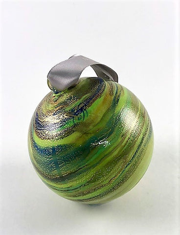 Murano Glass Christmas Ornament Mela Green Swirl Image